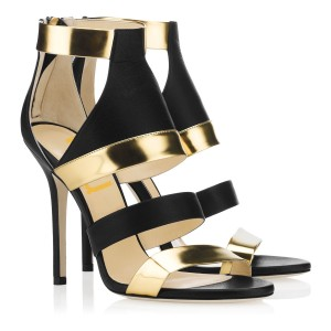 Women's Gold and Black Stiletto Heels Open Toe Ankle Strap Sandals