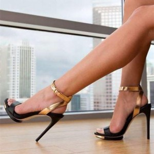 Black and Gold Platform Slingback Heels Ankle Strap Sandals