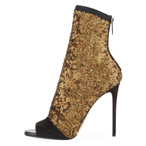 Black and Gold Sequin Boots Peep Toe Stiletto Heel Ankle Boots