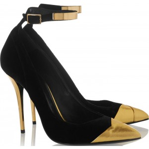 Black and Gold Ankle Strap Heels Pointy Toe Stilettos Pumps