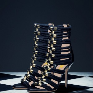 Black and Gold Strappy Sandals Open Toe Stiletto Heels for Sexy Ladies