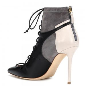 Black and Grey Lace up Stiletto Heels Boots Pointy Toe Ankle Booties