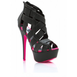 Black Platform Sandals Hollow-out High Heels for Women