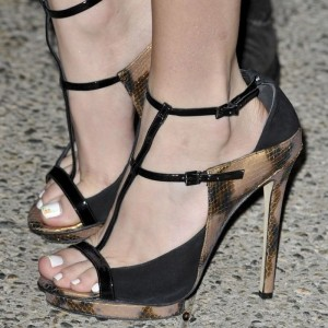 Black and Gold Snakeskin BucklesT Strap Stiletto Heels Sexy Sandals
