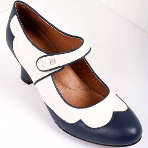 Navy and White Mary Jane Heels Vintage Style Chunky Heel Pumps