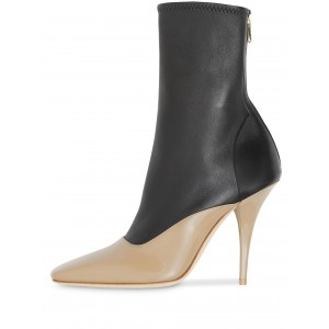 Black and Nude Patent Leather Ankle Booties Cone Heel Boots