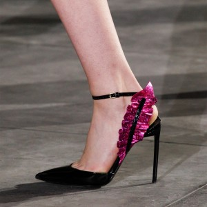 Black and Orchid Ruffle Ankle Strap Heels Pumps
