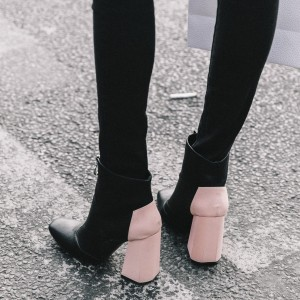 Black and Pink Vegan Leather Block Heels Square Toe Ankle Booties