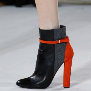 Black and Red Chunky Heel Boots Buckle Ankle Boots for Work
