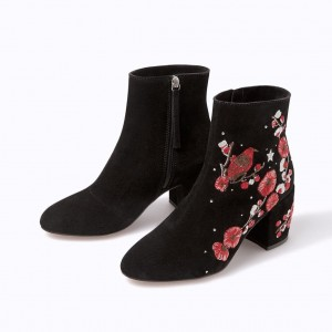 Black and Red Floral Suede Block Heel Ankle Booties