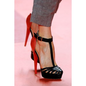Black and Red T Strap Sandals Platform High Heel Shoes
