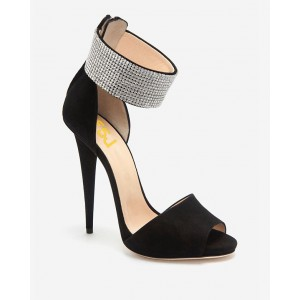 Black and Silver Ankle Strap Sandals Peep Toe Heels Sequined Sandals