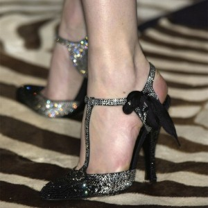 Black and Silver Gradient Color Rhinestone T Strap Pumps Evening Shoes