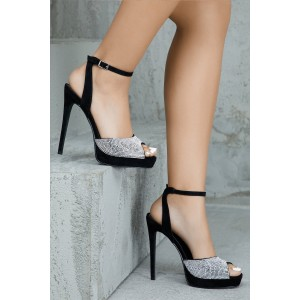Black Rhinestone Slingback Sandals Stiletto Heel Platform Sandals