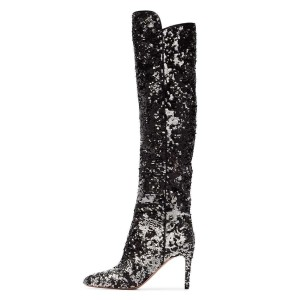Black and Sliver Sequined High Heel Boots Knee-high Boots