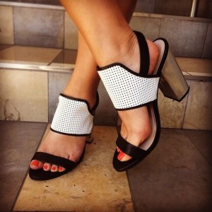 Black and White Block Heel Sandals Hollow out Slingback Sandals