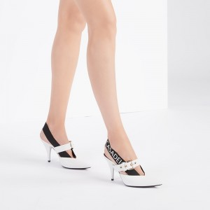 White and Black Buckle Slingback Heels Cone Heel Pointed Toe Pumps