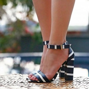 Black and White Chunky Heel Sandals Open Toe Ankle Strap Sandals