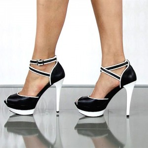 Black and White Crisscross Strap Platform Sandals Pencil Heel Sandals