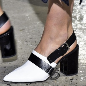 Black and White Heels Buckle Pointy Toe Chunky Heels Slingback Pumps