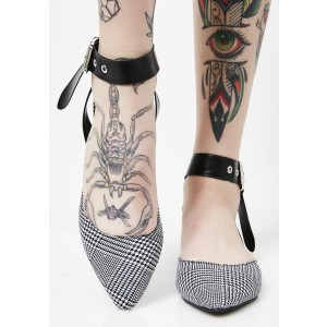 Black and White Heels Houndstooth Pointy Toe Flats Ankle Strap Sandals