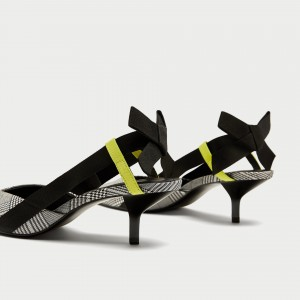 Black and White Heels Houndstooth Pointy Toe Slingback Pumps with Bow