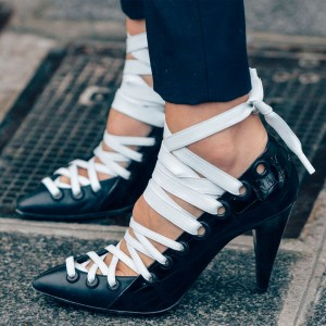 Black and White Heels Lace up Pointy Toe Cone Heel Pumps US Size 3-15