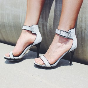 Black and White Heels Open Toe Sandals Stilettos Ankle Strap Sandals