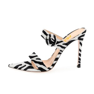 Black and White Heels Open Toe Stiletto Heels Zebra Printed Mule