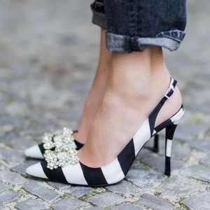 Black and White Heels Rhinestone Stiletto Heel Satin Slingback Pumps