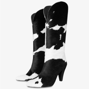 Black and White Horse Fur Fashion Boots Cone Heel Calf Length Boots