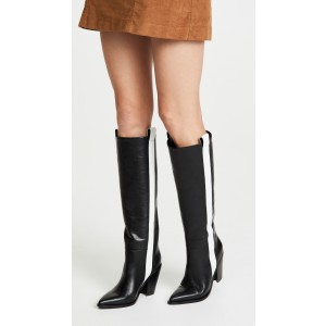 Black and White Knee High Boots Pointy Toe Chunky Heel Boots by FSJ