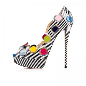 Black and White Patent Leather Platform Heels Colorful Dots Pumps