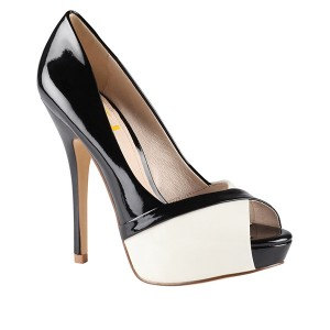 FSJ Shoes Black and White Heels Peep Toe Stiletto Heels for Women