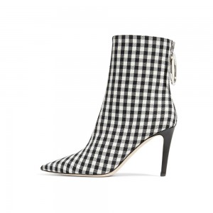 Black and White Plaid Stiletto Boots Pointy Toe Ankle Booties with Zip