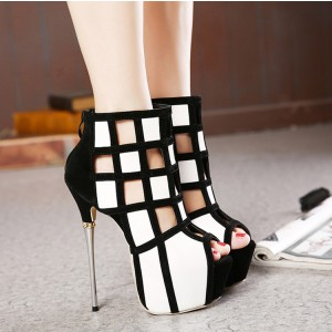 Women's White and Black Peep Toe Hollow out Platform Shoes
