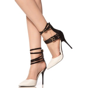 Black and White Pointy Toe Ankle Strap Buckles Stiletto Heel Pumps