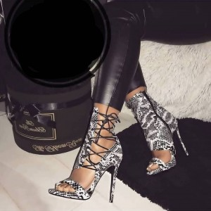 Black and White Python Stiletto Heel Lace Up Sandals