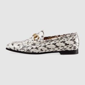 Black and White Python Vintage Buckle Loafers for Women