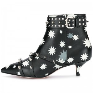 Black and White Rivets Kitten Heel Boots