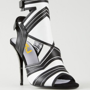 Black and White Dress Shoes Slingback Peep Toe Stiletto Heels Sandals