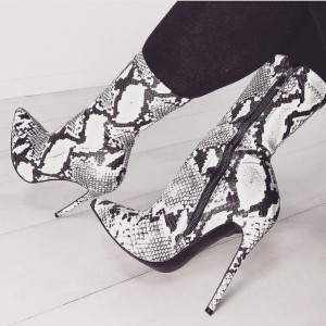 Black and White Snakeskin Boots Stiletto Heel Mid Calf Boots