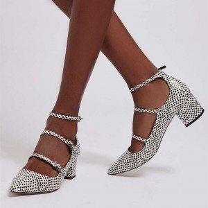 Black and White Spots Block Heels Pointy Toe Low Heel Tri-Strap Pumps