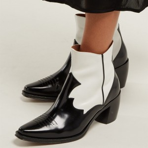 Black and White Square Toe Block Heel Ankle Booties
