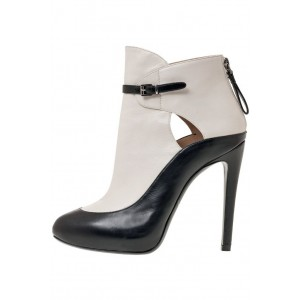 Black and White Stiletto Boots Round Toe Buckles Ankle Booties