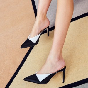 Black and White Stiletto Heel Mule Pointy Toe High Heels for Women