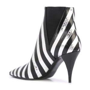 Black and White Stripe Ankle Booties Python Cone Heel Boots