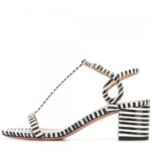 Black and White Stripe Block Heel T Strap Sandals