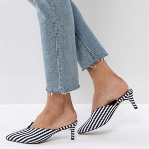 Black and White Stripe Mules Pointy Toe Kitten Heels for Women