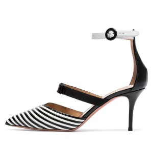 Black and White Stripe Pointy Toe Ankle Strap Stiletto Heels Pumps